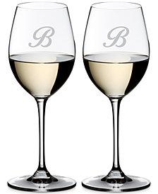 Riedel Vinum Monogram Collection 2-Pc. Script Letter Sauvignon Blanc Wine Glasses