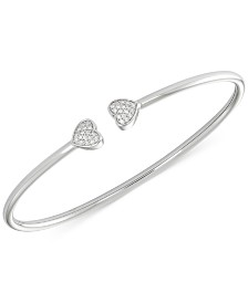 wrapped™ Diamond Heart Bangle Bracelet (1/6 ct. t.w.) in Sterling Silver, Created for Macy's