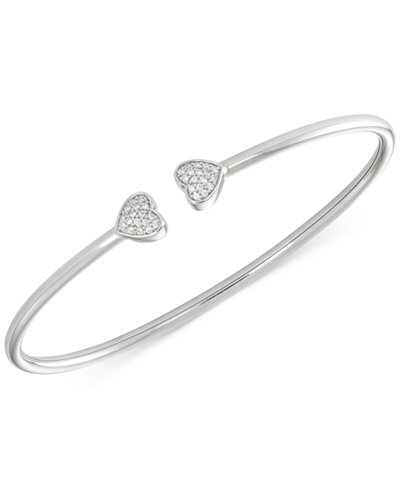 bangle bracelet bracelets bangles diamond accent sterling hinge silver plated macy i s