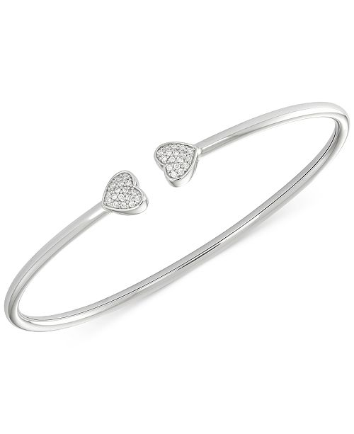 Wrapped Diamond Heart Bangle Bracelet (1 6 ct. t.w.) in Sterling Silver 3dfde18b1