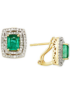 RARE Featuring GEMFIELDS Certified Emerald (1-1/2 ct. t.w.) and Diamond (3/8 ct. t.w.) Earrings in 14k Gold.