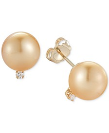 Cultured Golden South Sea Pearl (9mm) and Diamond Accent Stud Earrings in 14k Gold