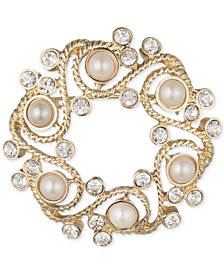 Gold-Tone Imitation Pearl and Crystal Wreath Pin, Created for Macy's