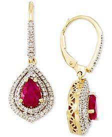 Certified Ruby (1-3/10 ct. t.w.) and Diamond (3/8 ct. t.w.) Drop Earrings in 14k Gold