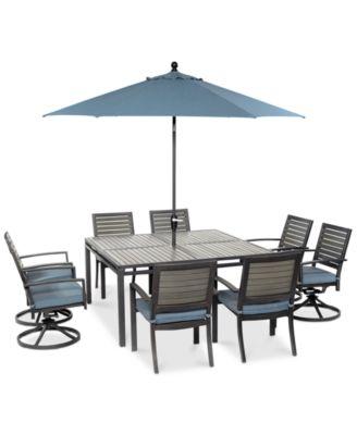 CLOSEOUT Harlough Outdoor Aluminum 9Pc Dining Set 62 Square