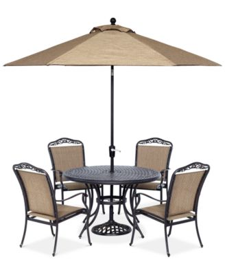 """Beachmont II Outdoor 5-Pc. Dining Set (48"""" Round Table and 4 Dining Chairs), Created for Macy's"""
