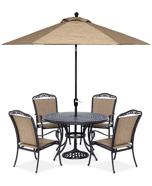 "Furniture Beachmont II Outdoor 5-Pc. Dining Set (48"" Round Table and 4 Dining Chairs), Created for Macy's"