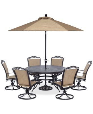 """Beachmont II Outdoor 7 Piece set: 60"""" Round Table, and 6 Swivel Rockers, Created for Macy's"""