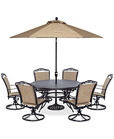 "Beachmont II Outdoor 7 Piece set: 60"" Round Table, and 6 Swivel Rockers, Created for Macy's"