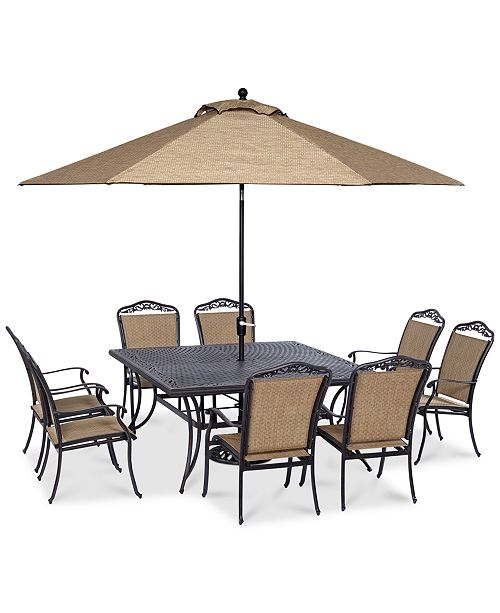 """Furniture Beachmont II Outdoor 9 Piece Set (64"""" Square Table, and 8 Dining Chairs), Created for Macy's"""