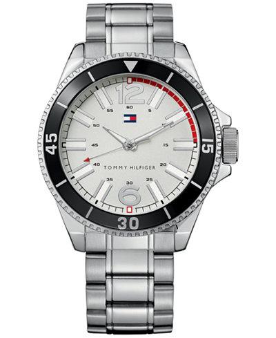 Tommy Hilfiger Men's Essential Silver-Tone Mixed Metal Bracelet Watch 1790749