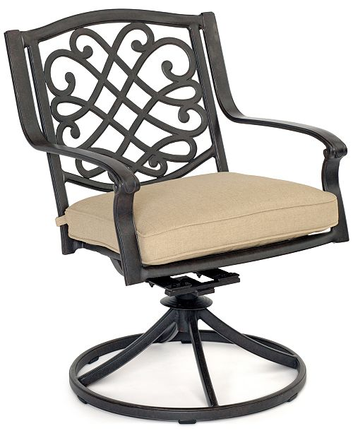 Furniture Park Gate Cast Aluminum Outdoor Dining Swivel Rocker, Created for Macy's