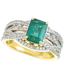 RARE Featuring GEMFIELDS Certified Emerald (1-1/5 ct. t.w.) and Diamond (3/8 ct. t.w.) Ring in 14k Gold