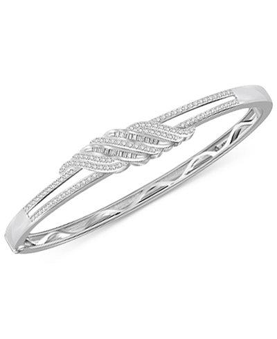 Diamond Twist Bangle Bracelet 1 Ct T W In Sterling Silver 14k Gold Macy S