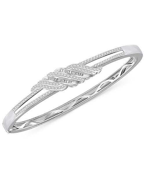 Macy's Diamond Twist Bangle Bracelet (1 ct. t.w.) in Sterling Silver & 14K Gold Plated Sterling Silver