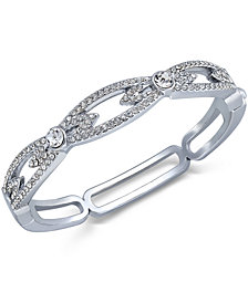 Charter Club Silver-Tone Pavé Crystal Link Hinge Bracelet, Created for Macy's