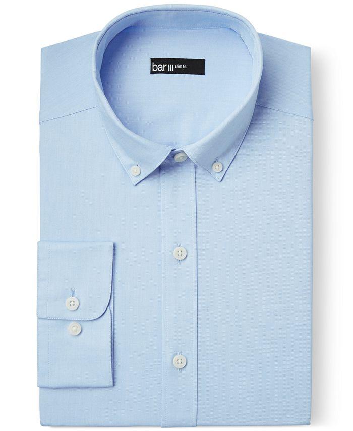 Bar III - Slim-Fit Light Blue Oxford Dress Shirt
