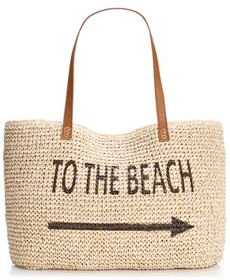 Style & Co. Straw Beach Bag, Only at Macy's - Handbags ...