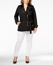 Plus Size Asymmetrical Zip-Front Trench Coat