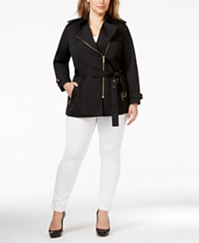 MICHAEL Michael Kors Plus Size Asymmetrical Zip-Front Trench Coat