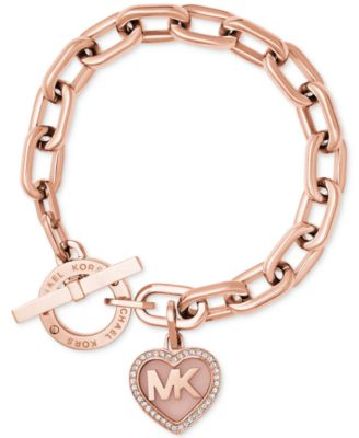 Michael Kors Rose Gold-Tone Pav� Logo Heart Toggle Bracelet
