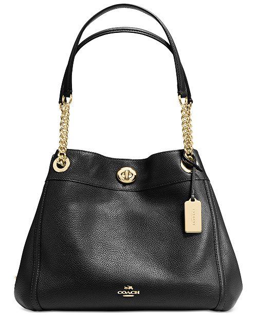 b8d8b142a COACH Turnlock Edie Shoulder Bag in Pebble Leather & Reviews ...