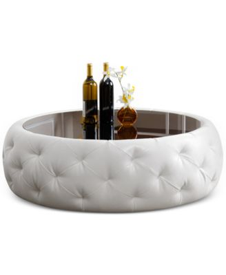 Clydell Round Faux Leather Coffee Table, Quick Ship