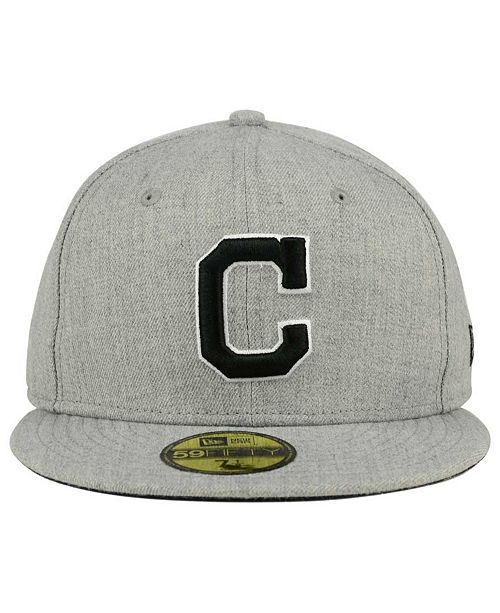 newest 9d8fb 6b890 ... New Era Cleveland Indians Heather Black White 59FIFTY Fitted Cap ...
