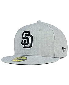 San Diego Padres Heather Black White 59FIFTY Fitted Cap