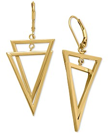 Interlocking Triangle Dangling Drop Earrings in 14k Gold, 1 1/4 inches