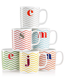 CLOSEOUT! The Cellar Chevron Initial Mug Collection, Created for Macy's