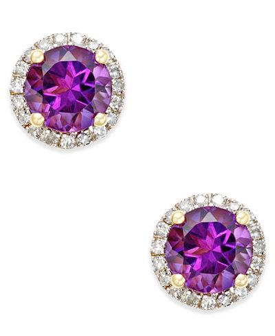 Amethyst (1-1/2 ct. t.w.) and Diamond (1/6 ct. t.w.) Stud Earrings in 14k Gold