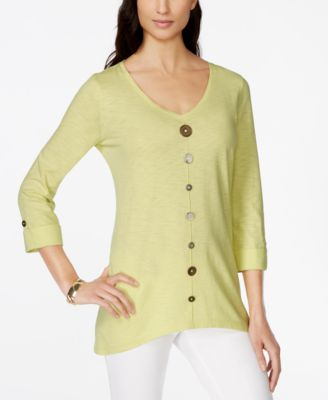 Image of JM Collection Button-Trim V-Neck Top, Only at Macy's