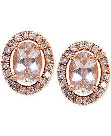 Morganite (1 ct. t.w.) and Diamond (1/3 ct. t.w.) Oval Button Stud Earrings in 14k Rose Gold