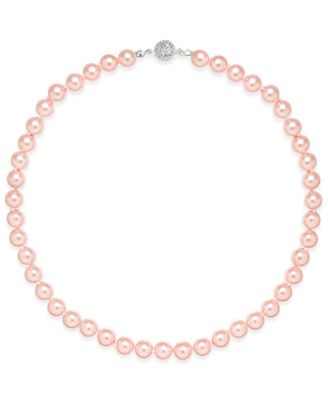 Image of Charter Club Silver-Tone Pink Imitation Pearl (8mm) Collar Necklace, Created for Macy's
