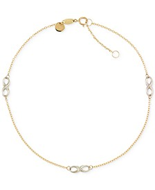 Two-Tone Infinity Design Anklet in 14k Gold and 14k White Gold
