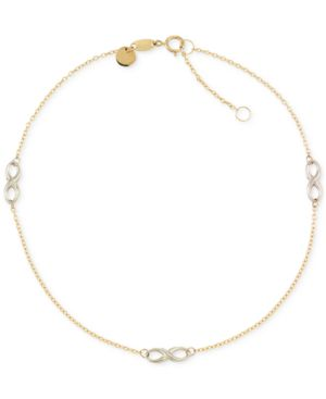Two-Tone Infinity Design Anklet in 14k Gold and 14k White Gold -  Macy's