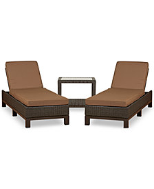 CLOSEOUT! Katalina Outdoor Wicker 3-Pc. Chaise Set (2 Chaise Lounge and 1 End Table), with Sunbrella® Cushions, Created for Macy's