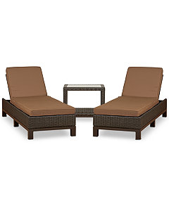 Katalina Outdoor Wicker 3 Pc Chaise Set 2 Chaise Lounge And 1 End Table Created For Macy S