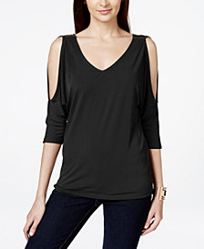 I.N.C. Petite Cold-Shoulder Hardware Top, Created for Macy's