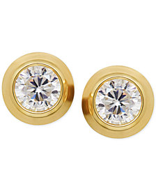 Cubic Zirconia Bezel-Set Stud Earrings in 14k Yellow, White or Rose Gold