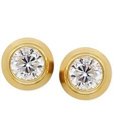 Cubic Zirconia Bezel-Set Stud Earrings in 14k Yellow or Rose Gold