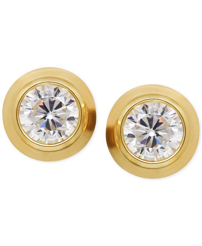 Macy's - Cubic Zirconia Bezel-Set Stud Earrings in 14k Yellow, White or Rose Gold