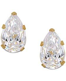 Pear-Cut Cubic Zirconia Stud Earrings in 14k Gold