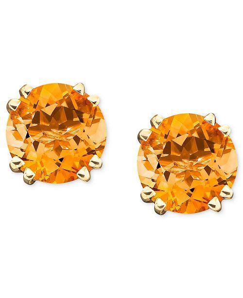Macy S 14k Gold Citrine Stud Earrings 3 1 2 Ct