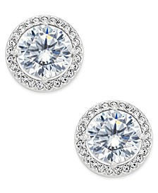 Silver-Tone Cubic Zirconia Framed Stud Earrings, Created for Macy's