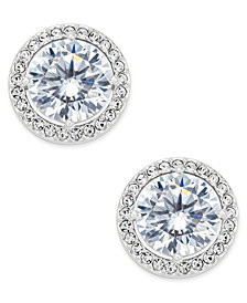 Danori Silver-Tone Cubic Zirconia Framed Stud Earrings, Created for Macy's