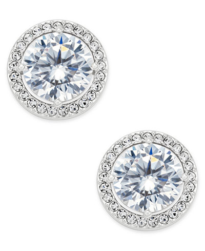 Danori Silver-Tone Cubic Zirconia Framed Stud Earrings, Created for Macy's