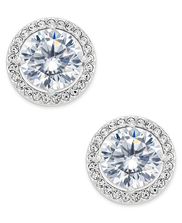 Eliot Danori Silver-Tone Cubic Zirconia Framed Stud Earrings, Created for Macy's