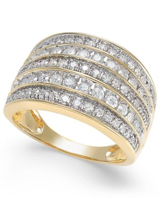 diamond five row statement ring 1 ct tw in 14k gold
